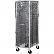 "Curtron® Black Supro Breathable Mesh Bun / Sheet Pan Rack Cover - 23"" x 28"" x 62"" #SUPRO-BM-Black"