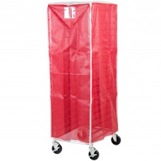 """Curtron® Yellow Supro Breathable Mesh Bun / Sheet Pan Rack Cover - 23"""" x 28"""" x 62"""" #SUPRO-BM-RED"""