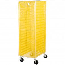 "Curtron® Yellow Supro Breathable Mesh Bun / Sheet Pan Rack Cover - 23"" x 28"" x 62"" #SUPRO-BM-Yellow"