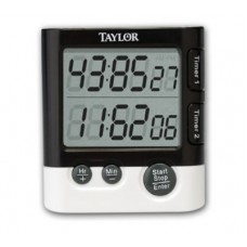Taylor® Digital Dual Event 24 Hour Kitchen Timer with Clock and Date #5828