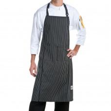 """Chef Revival 619BA-WS Cotton Pinstripe Bib Apron, 29 x 38"""", White / Black #619BA-WS"""