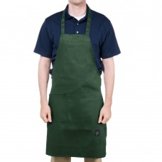 "Chef Revival Customizable Full-Length Hunter Green Bib Apron - 34""L x 28"" W  #601BAC-HG"