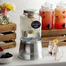 Acopa Mason Jar Glass Beverage Dispenser 2 gal with Infusion Chamber, Chalkboard Sign, and Metal Stand #553220025SKT