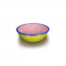 Bornn Colorama Bowl Chartreuse and Soft Pink with Electric Blue Rim, 24oz\700ml\20cm #CRBW2001