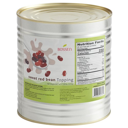 Bossen® Sweet Red Bean Topping, can #10, 7.26 lb.\3,3kg #020359