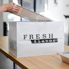 "White Rigid Plastic Handled Shopper Bag with ""Fresh Flavor"" Printing \22"" x 14"" x 15""\ - 50/Case #065164"