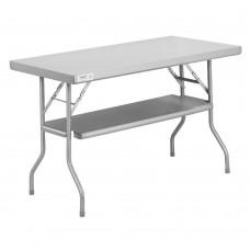 "Regency 18-Gauge Stainless Steel Folding Work Table with Removable Undershelf 24"" x 48"" #600FWT2448US"