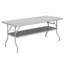 "Regency 18-Gauge Stainless Steel Folding Work Table with Removable Undershelf 30"" x 72"" #600FWT3072US"