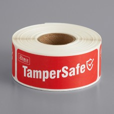 """Noble Products TamperSafe Red Paper Tamper-Evident Label 1"""" x 3"""" - 250/Roll #322TE1X3RPA"""