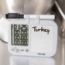 Taylor Digital 4 Channel Kitchen Timer w\White Board and Dry Erase Pen #5849