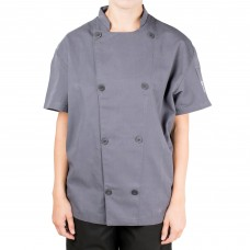 Chef Revival® Silver Grey Unisex Short Sleeve Chef Jacket with Mesh Back, L-size #J205GR-L