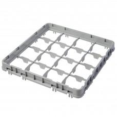 "Cambro® Camrack™ Customizable Glass Rack w/ 16 Compartments Half Drop Full Size Extender - 19 5/8"" x 19 5/8"" x 2"", Soft Gray#16E2151"