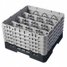"""Cambro® Camrack™ Customizable Glass Rack w/ 16 Compartments & 5 Gray Extenders, 10 1/8"""", Black #16S958110"""