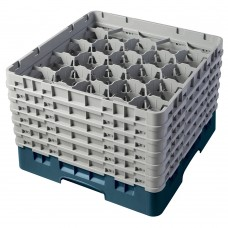 """Cambro® Camrack™ Customizable Glass Rack w/ 20 Compartments & 6 Gray Extenders, 11 3/4"""", Teal #20S1114414"""