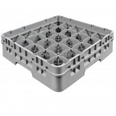 """Cambro® Camrack™ Customizable Glass Rack w/ 25 Compartments & 1 Gray Extenders, 3 5/8"""", Grey #25S318151"""