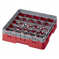 """Cambro® Camrack™ Customizable Glass Rack w/ 25 Compartments & 1 Gray Extenders, 3 5/8"""", Red #25S318153"""