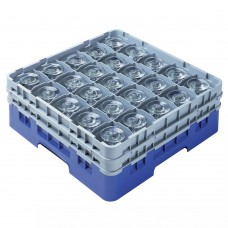 """Cambro® Camrack™ Customizable Glass Rack w/ 25 Compartments & 2 Gray Extenders, 6 1/8"""", Blue #25S534168"""