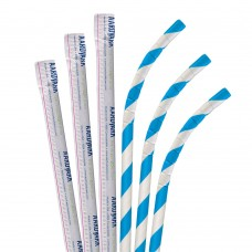 "Aardvark® 7 3/4"" Jumbo Blue / White Striped Wrapped Eco-Flex Paper Straw - 3200/Case #61810015"