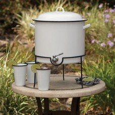 Crow Canyon Home Vintage Beverage Dispenser with Rack SOLID WHITE W/BLACK 14 1⁄2 qts #V300BLA