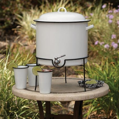 Crow Canyon Home Vintage Beverage Dispenser with Rack SOLID WHITE W/GREY 14 1⁄2 qts #V300GRY