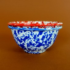 Crow Canyon Home Blue Splatter 16 oz Small Footed Bowl#D02DBM
