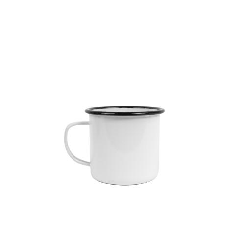 Crow Canyon Home Vintage 16 oz Mug SOLID WHITE W/BLACK RIM #V112BLA