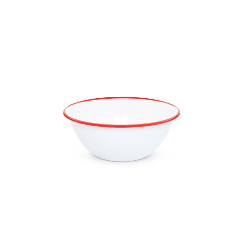 """Crow Canyon Home Vintage 2 quart Small Serving Bowl 10,75"""" WH W/RED RIM #V18RED"""