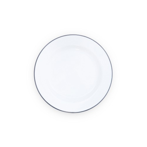 """Crow Canyon Home DINNER PLATE SOLID WHITE W/ GREY RIM 10,25""""(26,04см) #V20GRY"""