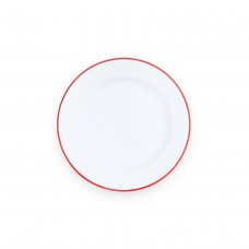 """Crow Canyon Home DINNER PLATE SOLID WHITE W/ BLUE RIM 10,25"""" #V20BLU"""