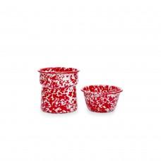 Crow Canyon Home Splatter 2-Piece Dip Pot Red Splatter#D89RM