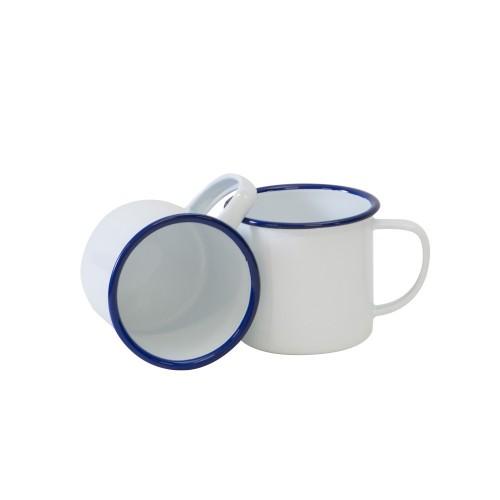 Crow Canyon Home Vintage 12 oz Mug SOLID WHITE W/ BLUE RIM