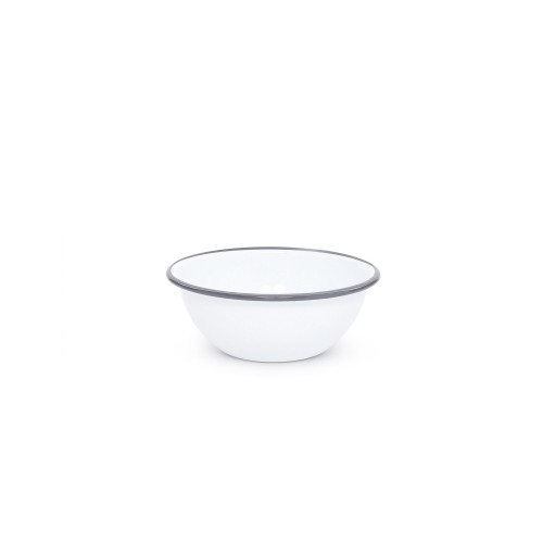 Crow Canyon Home CEREAL BOWL SOLID WHITE W/GREY RIM #V17GRY