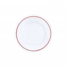 """Crow Canyon Home Buffet Plate Solid White W/RED RIM 12"""" #V95RED"""