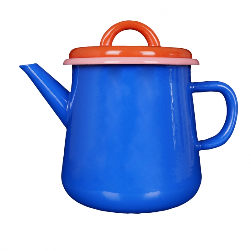 Эмалированный чайник Bornn Colorama 1л голубой, с коралловой крышкой Tea Pot Electric Blue, Coral w\Soft Pink Rim #CRTP1301