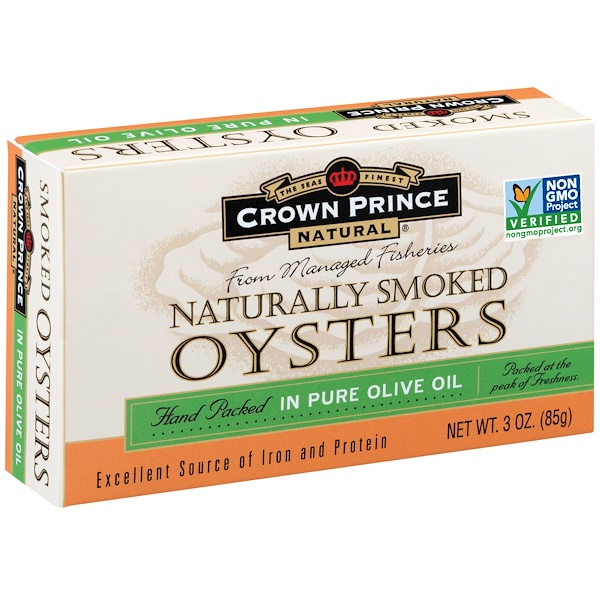 Устрицы копченые Crown Prince Natural, Naturally Smoked Oysters, In Pure Olive Oil, 85гр\3oz #073230008511