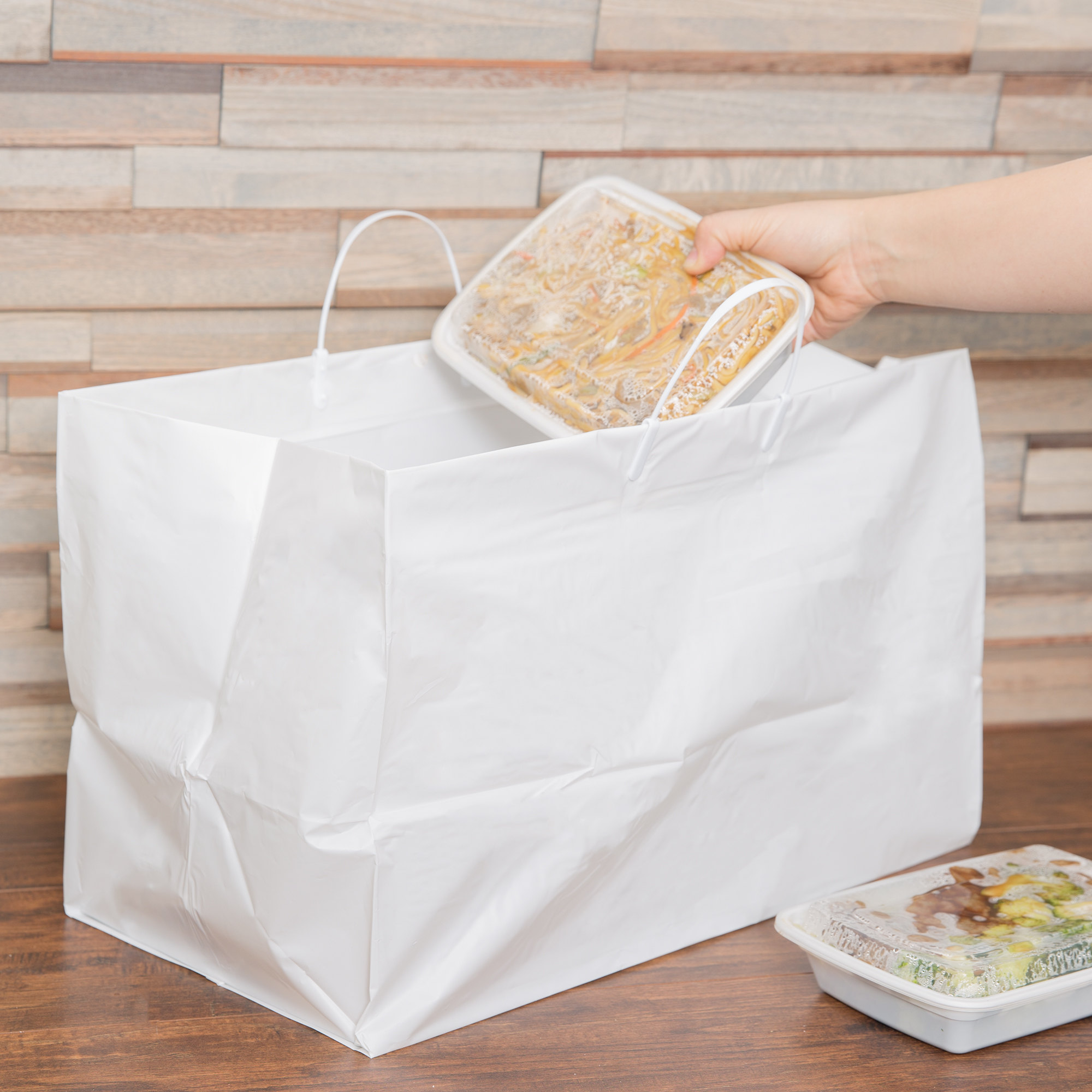 Сумка-пакет to-go, жесткий, белый пластик L-size White Rigid Plastic Handled Bag 48х31см\25см дно\ - 200 штук\кейс #008945