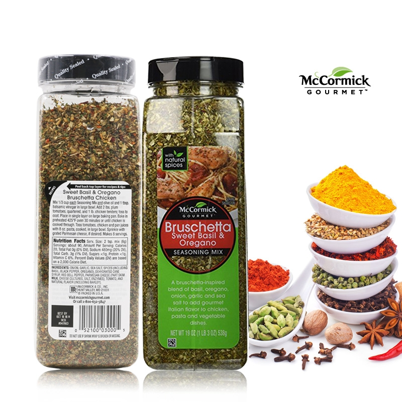Смесь специй Брускетта McCormick Gourmet Sweet Basil Oregano Bruschetta Seasoning Mix, 19 oz\539гр #947663